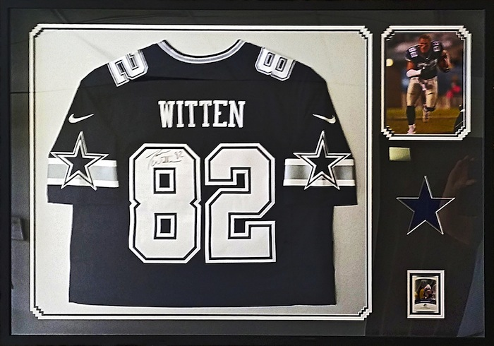 FRAMECO San Diego custom framed football jersey for residential, sports collectors