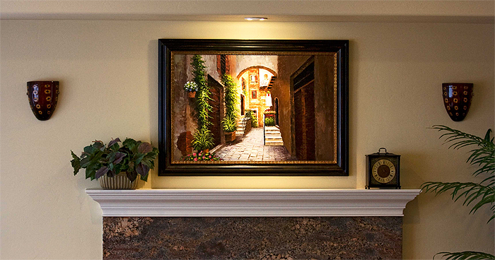 Frameco Framed Painting Over Fireplace Frameco